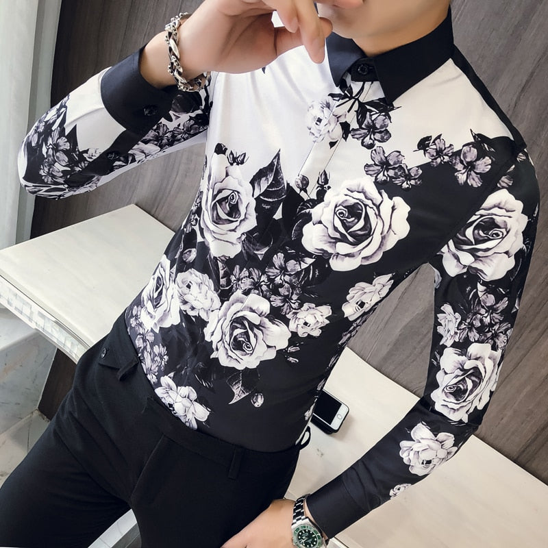 Long Sleeve Slim Fit Party Rose Shirt