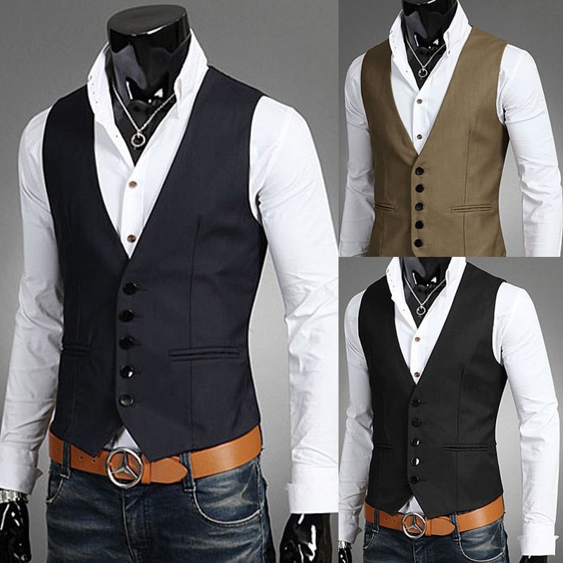 Men's Business Casual Slim Vests Fashion
