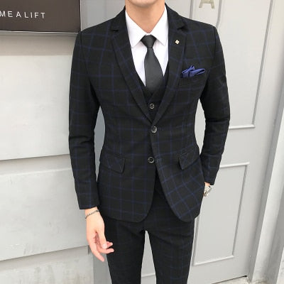 Classical Plaid Slim Fit 3 PC Suit