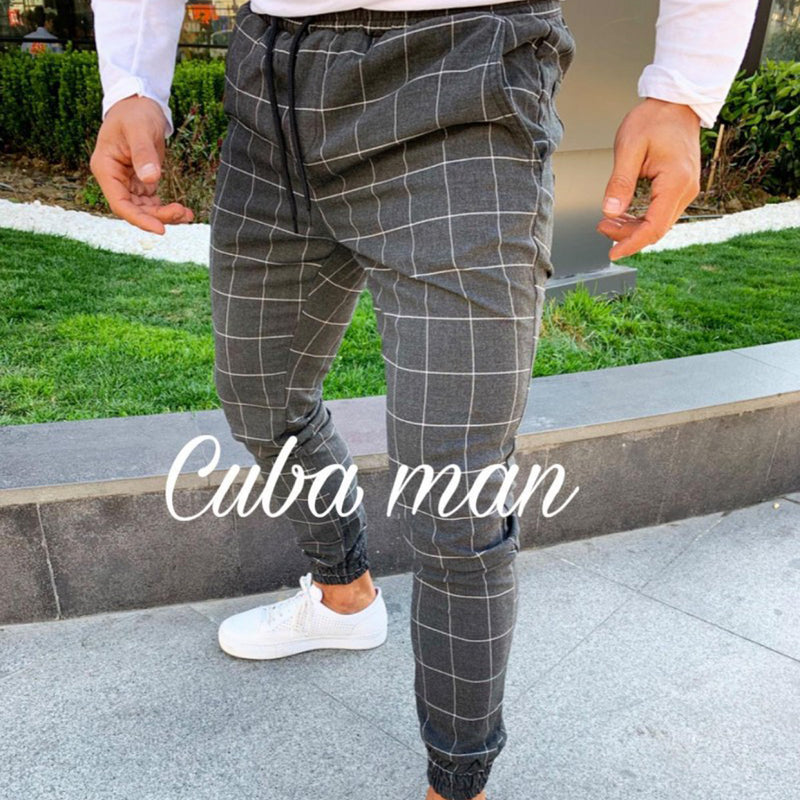 Men's Slim Fit Plaid Straight Leg Trousers
