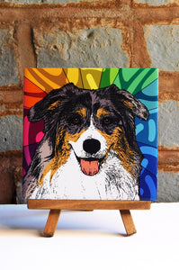 Aussie Shepherd Ceramic Art Tile