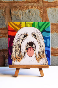 Bearded Collie Ceramic Art Tile