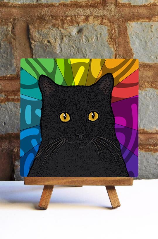 Black Cat Ceramic Art Tile