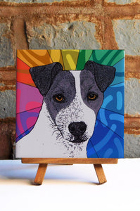 Jack Russell Black Ceramic Art Tile