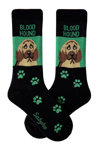 Bloodhound Dog Socks Green