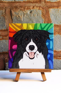 Border Collie Ceramic Art Tile