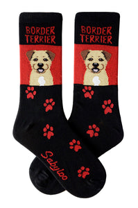 Border Terrier Dog Socks Red