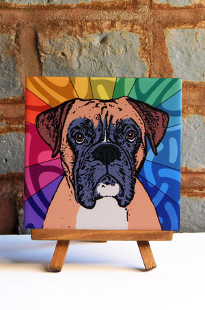 Boxer Ceramic Art Tile