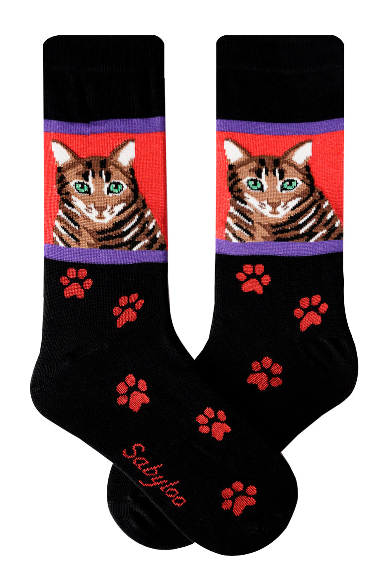 Brown Tabby Cat Socks