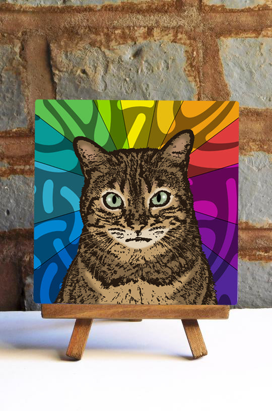 Brown Tabby Cat Ceramic Art Tile