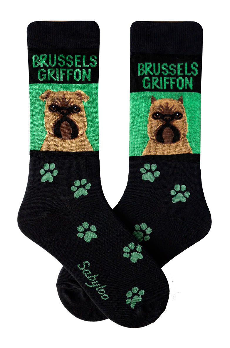 Brussels Griffon Dog Socks Green