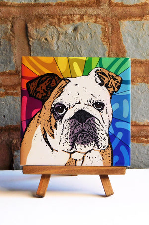 Bulldog Ceramic Art Tile
