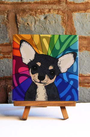 Chihuahua Black Ceramic Art Tile