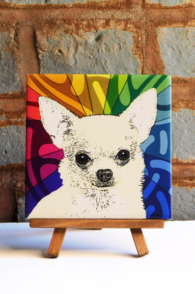Chihuahua Fluff Ceramic Art Tile