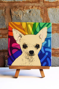 Chihuahua Tan Ceramic Art Tile