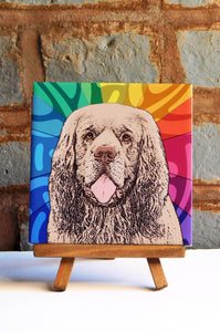 Clumber Spaniel Ceramic Art Tile