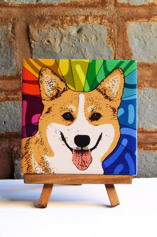 Corgi Ceramic Art Tile