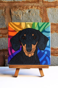 Dachshund Ceramic Art Tile