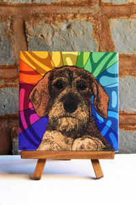 Dachshund Wirehaired Ceramic Art Tile