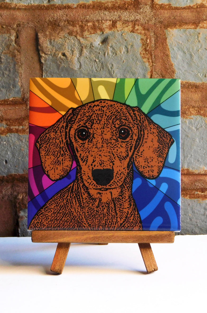 Dachshund Brown Ceramic Art Tile