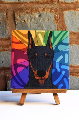 Doberman Ceramic Art Tile