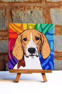 Foxhound Ceramic Art Tile