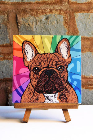 Frenchie Brindle Ceramic Art Tile