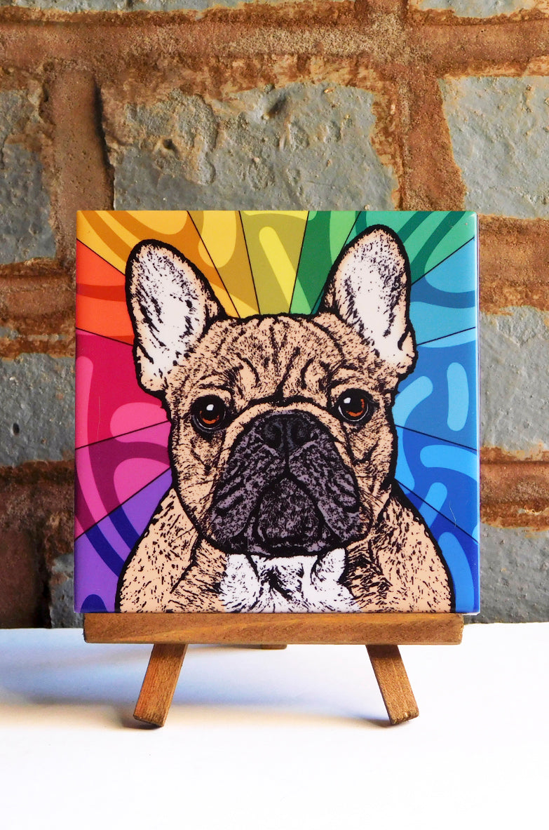 Frenchie Tan Ceramic Art Tile