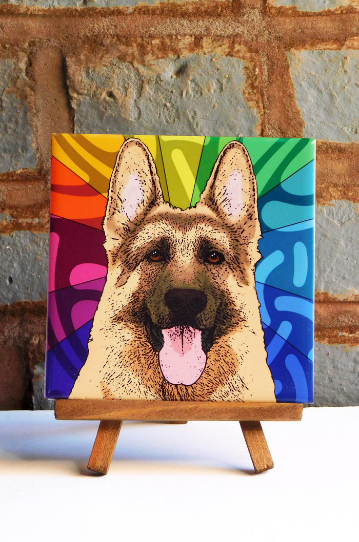 German Shepherd Ceramic Art Tile