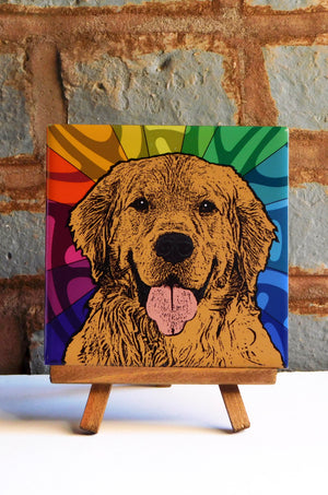 Golden Retriever Ceramic Art Tile