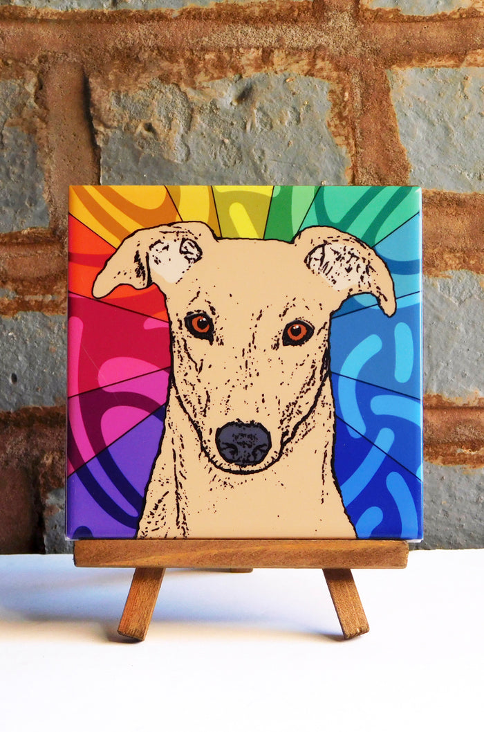 Greyhound Ceramic Art Tile