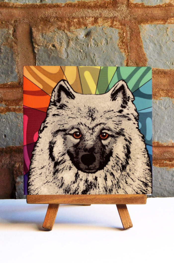 Keeshond Ceramic Art Tile