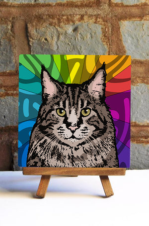Maine Coon Cat Ceramic Art Tile