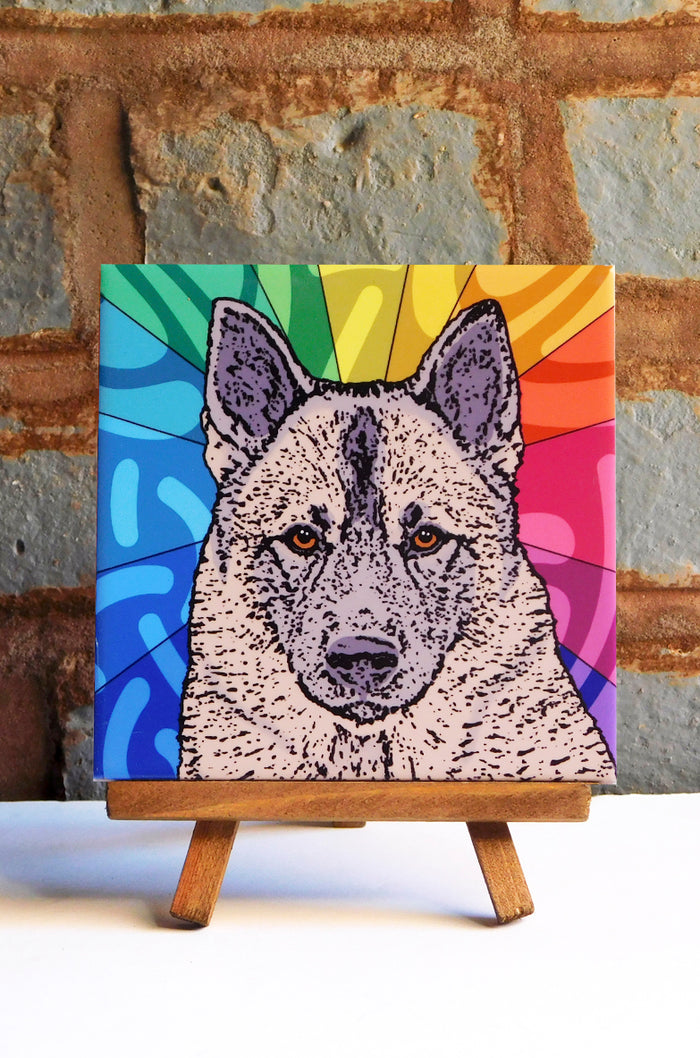 Norwegian Elkhound Ceramic Art Tile