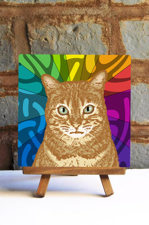 Orange Tabby Cat Ceramic Art Tile