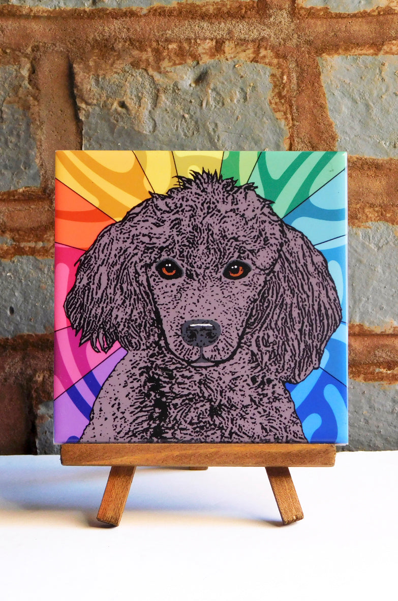 Poodle Black Ceramic Art Tile