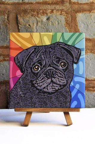 Pug Black Ceramic Art Tile