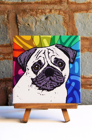 Pug Ceramic Art Tile