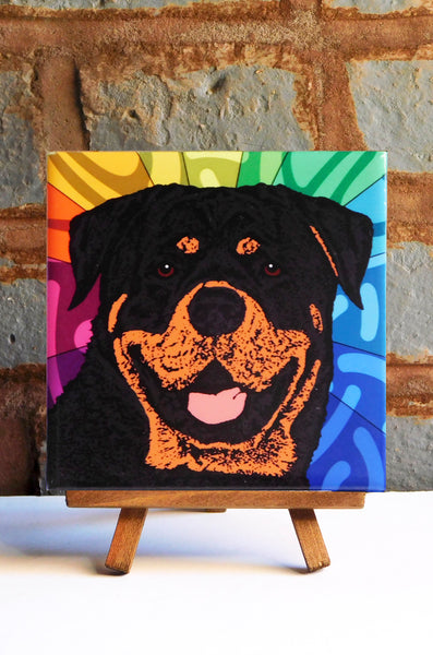 Rottweiler Ceramic Art Tile