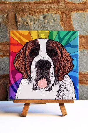 Saint Bernard Ceramic Art Tile