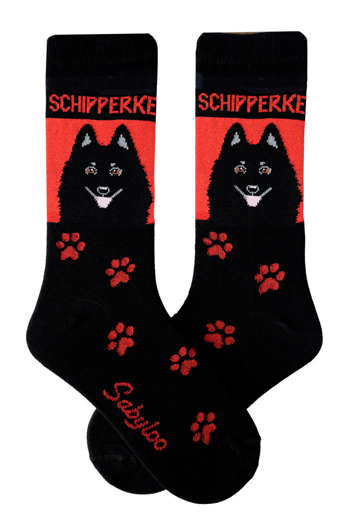 Schipperke Dog Socks Red