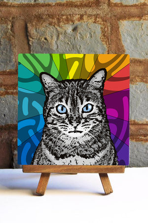 Silver Tabby Cat Ceramic Art Tile