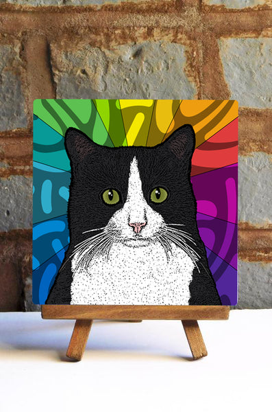 Tuxedo Cat Ceramic Art Tile