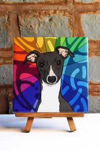 Whippet Ceramic Art Tile