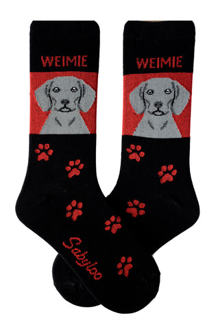 Weimaraner Dog Socks Red