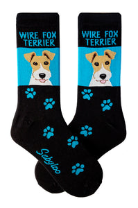 Wirefox Terrier Dog Socks Blue