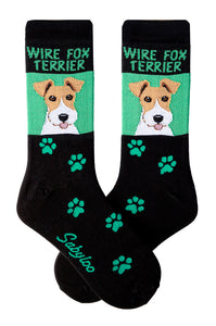 Wirefox Terrier Dog Socks on Green