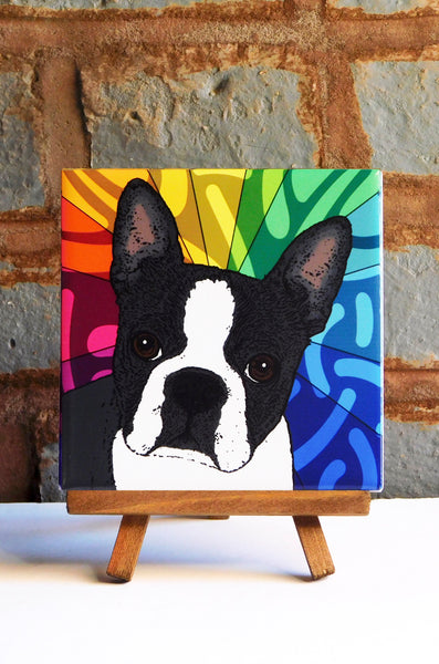 Boston Terrier Ceramic Art Tile