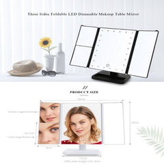black or white choice of 3 side folding LED dimming makeup mirror
