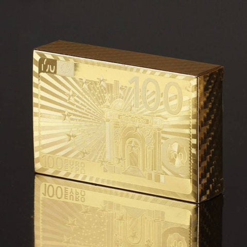 24K Carat Gold Foil Plated Poker Game Playing Cards Gift Collection